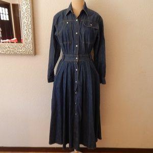 Vintage Denim Jean Circle Skirt Dress